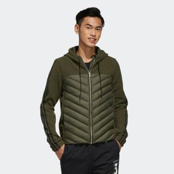 阿迪達斯官網adidas neo 男裝冬季休閑連帽拉鏈短款羽絨服運動外套EI6284 如圖 L