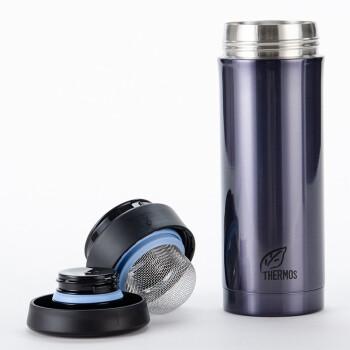膳魔师(THERMOS)保温杯真空不锈钢男女商务办公泡茶杯 水杯 CMK-351/501 蓝黑色CMK-501-BKP,降价幅度43%