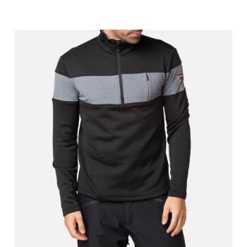 ROSSIGNOL卢西诺男士滑雪保暖层半拉链滑雪服保暖衣内搭四面弹RLIML06 黑色 L