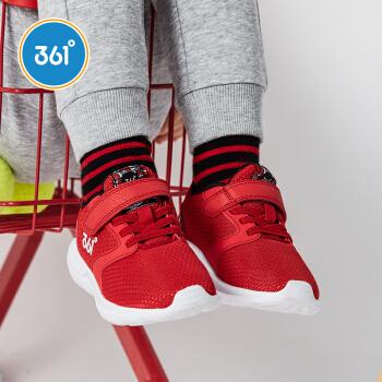 361° 童鞋儿童跑鞋春2019新款男女童中大童小童网布跑鞋儿童运动鞋 大学红/小童 29