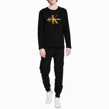 CK JEANS2019秋冬新款男裝 寬松休閑簡約潮流長袖圓領T恤 J313402 099-黑色 M