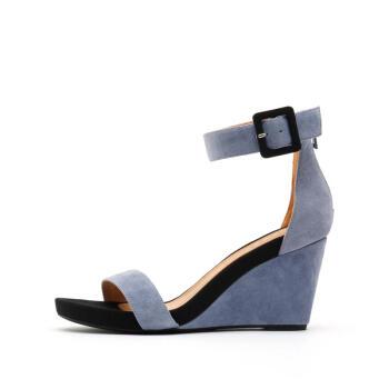 思加圖2019夏季新款休閑時尚一字帶拉鏈坡跟簡約女涼鞋子EXX61BL9 藍色 38,降價幅度34%