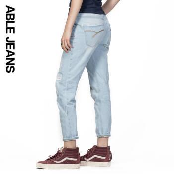 ABLE JEANS破洞牛仔裤女 夏季新款浅色宽松做旧BF牛仔八分裤 蓝牛浅色 170/29