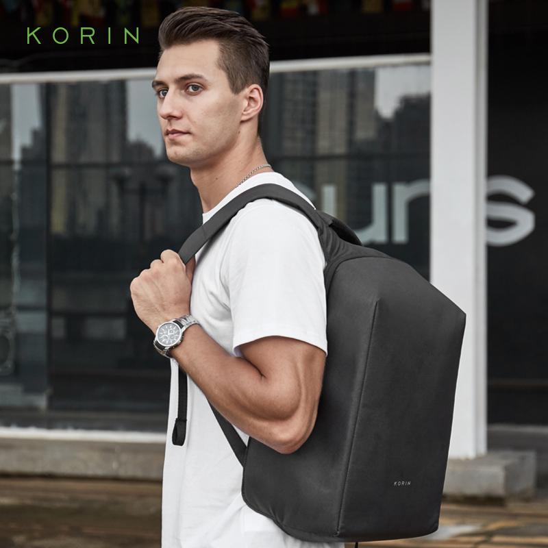 korin商務雙肩包男14L防盜電腦背包男士商務包郵多功能簡約時尚